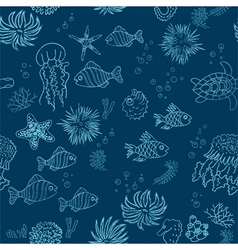 Hand drawn sea theme seamless background vector image vector image