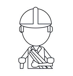 man building construction plans helmet thin line vector image vector image