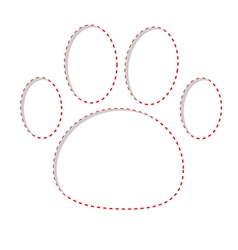 Paw print with red dash line Empty frame template vector image vector image