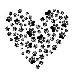 adopt dog paw heart animal help vector image vector image