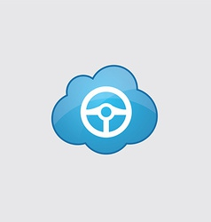 Blue cloud steering wheel icon vector image