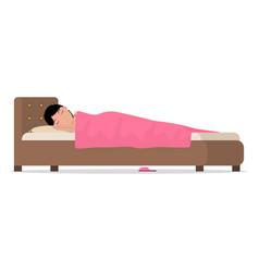 cartoon sleeping woman in bed under blanket vector image vector image