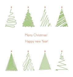 Christmas trees set Hand drawing line graphic vector image