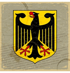 Coat of arms of Germany on the old postage card vector image