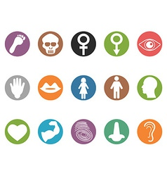 human feature round buttons icons set vector image