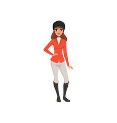 jockey girl in costume equestrian professional vector image