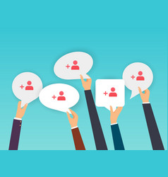 people holding speech bubbles with subscribers vector image vector image