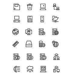 Database and Server Line Icons 2 vector image vector image