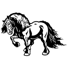 heavy horse black white vector image vector image