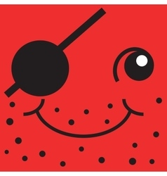 Red smiley face one-eyed pirate vector image