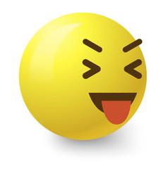 teasing smiley icon cartoon style vector image vector image