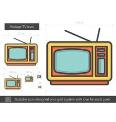 Vintage TV line icon vector image vector image