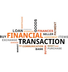 word cloud financial transaction vector image vector image