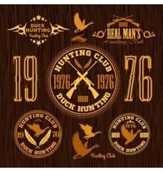 Duck Hunting - set for hunting emblem vector image vector image