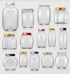 glass jar empty mason glassware with lid or vector image