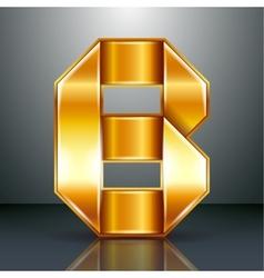 Letter metal gold ribbon - B vector image