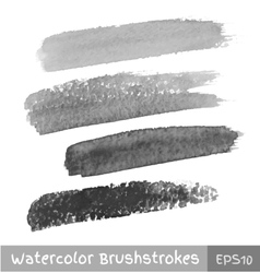 Set of gray watercolor brush strokes vector