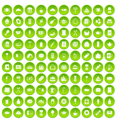100 cafe icons set green circle vector