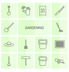14 gardening icons vector image