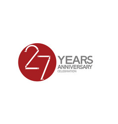 27 years anniversary logotype design with big red vector