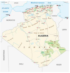 Algeria road and national park map vector