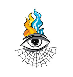 Angry eye with spiderweb tattoo cartoon theme art vector