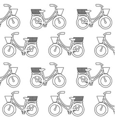 antique bicycle with basket pattern background vector image