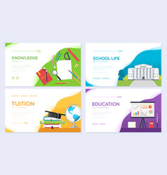 Back to school information brochure card set vector