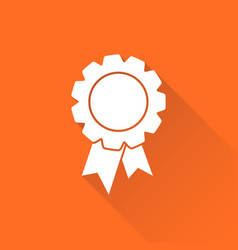 badge with ribbon icon in flat style on orange vector image