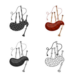 bagpipes icon in cartoon style isolated on white vector image