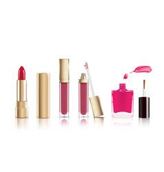 Beautiful red cosmetic lipstick liquid lip gloss vector