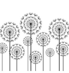 Black stylized dandelion on white background vector