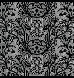 black vintage lace seamless pattern with flowers vector image
