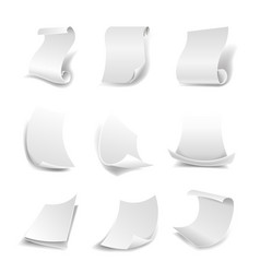 Blank white paper sheets in rolls or curved sides vector