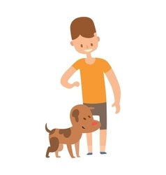 Boy and dog isolated on white background vector