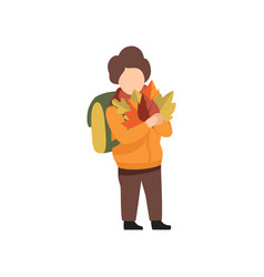 boy with backpack walking to school with bouquet vector image