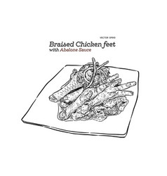 braised chicken feet chinese food hand draw vector image