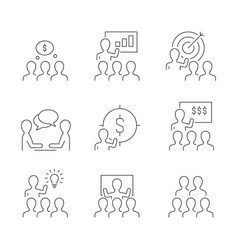 business training line icons on white background vector image
