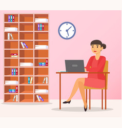 businesswoman work in office at laptop workplace vector image