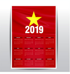 Calendar 2019 vietnam flag background english vector