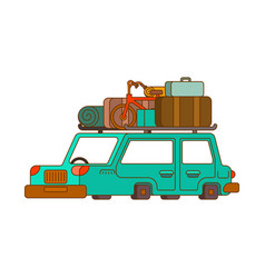 car for weekend outline style family go to vector image