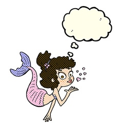 Cartoon pretty mermaid with thought bubble vector