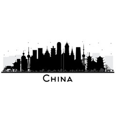 china city skyline silhouette with black vector image