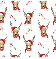 Christmas deer seamless pattern reindeer head vector