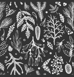 christmas seamless pattern hand drawn winter vector image