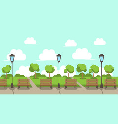City park wooden bench street lamp green lawn vector