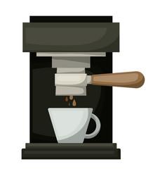 Coffee espresso machine front view in realistic vector