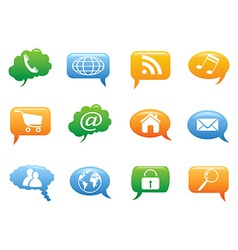 color speech bubble with internet icons vector image