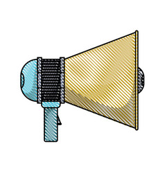 Colored pencil silhouette of megaphone icon vector