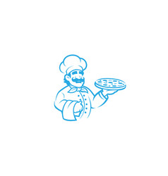 creative happy blue chef holding pizza logo vector image